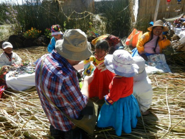Interacting with kids on Lake Titicaca